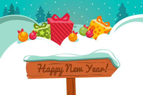 New Year Cards Vector Templates