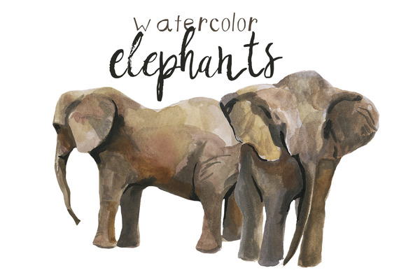 Watercolor Elephants Clip Art