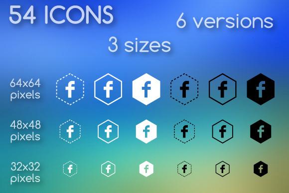 Social Media Icons Hexagonal Shapes