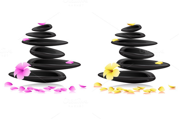Spa Background With Stones Flowers