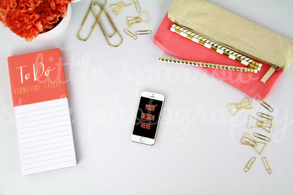 Coral Styled Desktop IPhone Mock Up