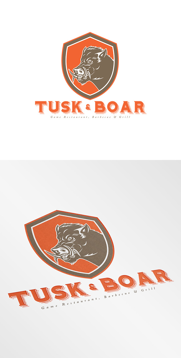 Tusk And Boar Game Restaurant Logo