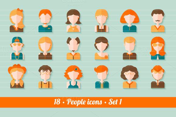 18 Flat People Avatars Kit