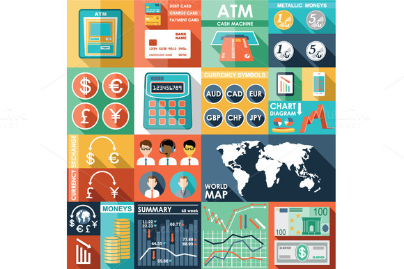 Set Of Flat Design Icons With Financ