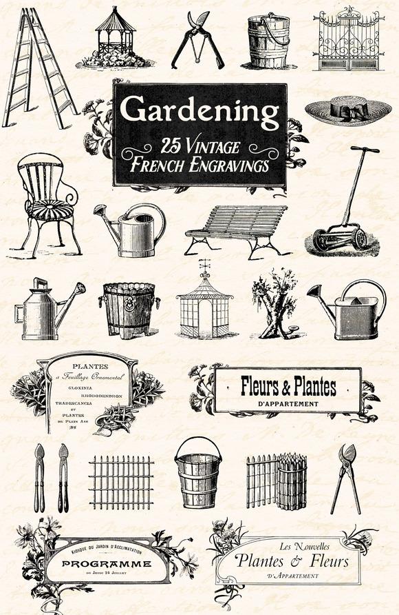 25 Vintage French Garden Engravings