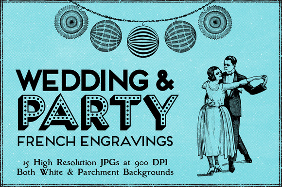 15 Vintage Party Wedding Engravings