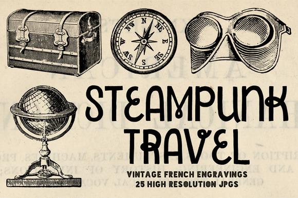 25 Steampunk Travel Engravings