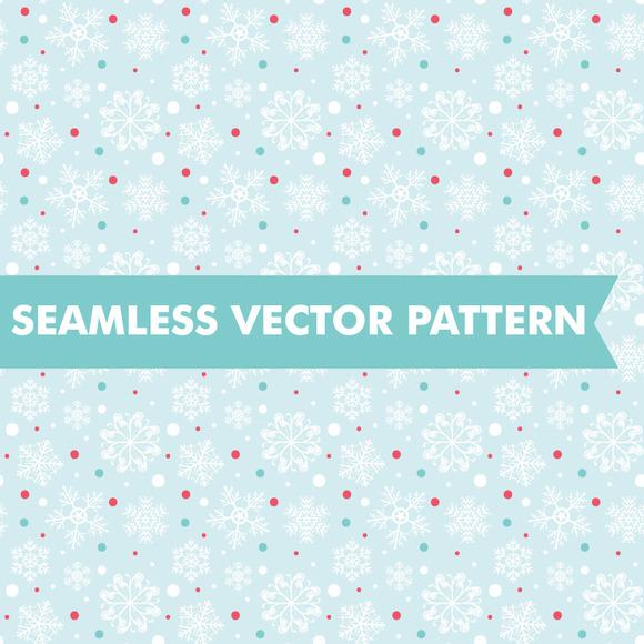 Polka Dot Snowflakes Seamless Vector