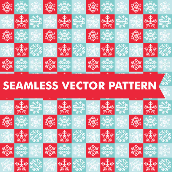 Checkered Snowflake Seamless Vector