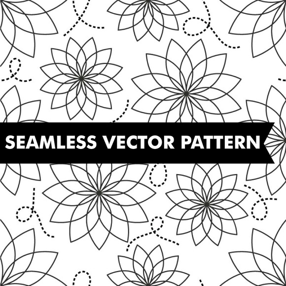 Black White Flowers Pattern Vector