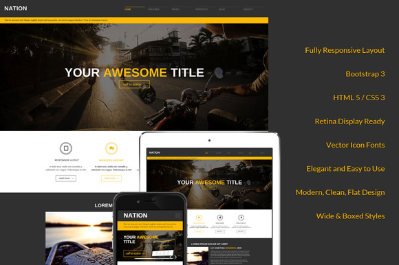 Nation Responsive Bootstrap 3 Theme