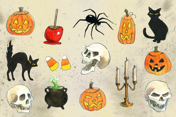 Halloween Watercolor Illustrations