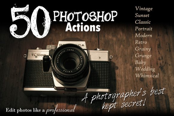 50 Photoshop Actions Mixed Package