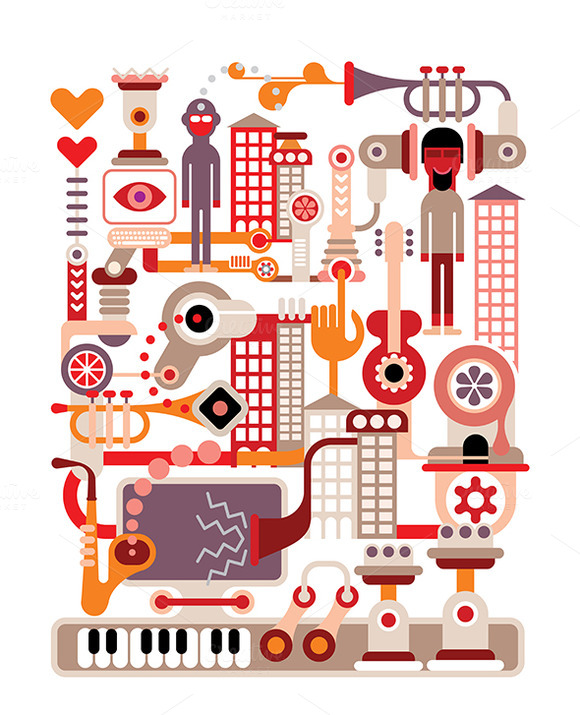 Music City Vector Illustration On