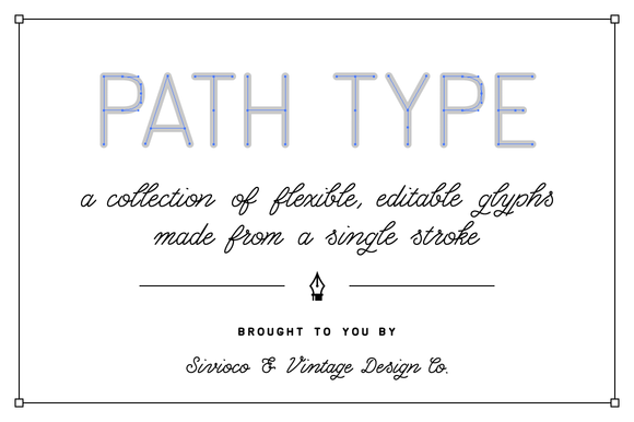 Path Type Single Stroke Glyph Set