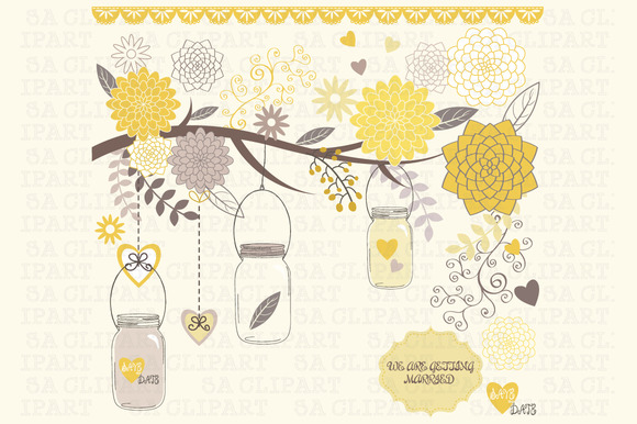 Wedding Mason Jar Clipart
