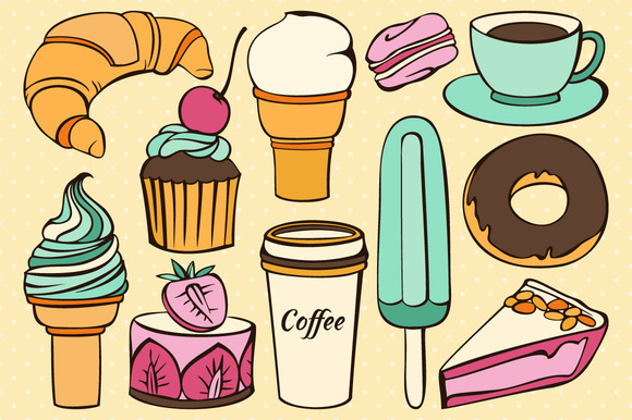 Vector Set Of Decorative Sweet Food
