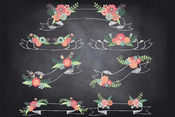 Chalkboard Floral Banner Clipart
