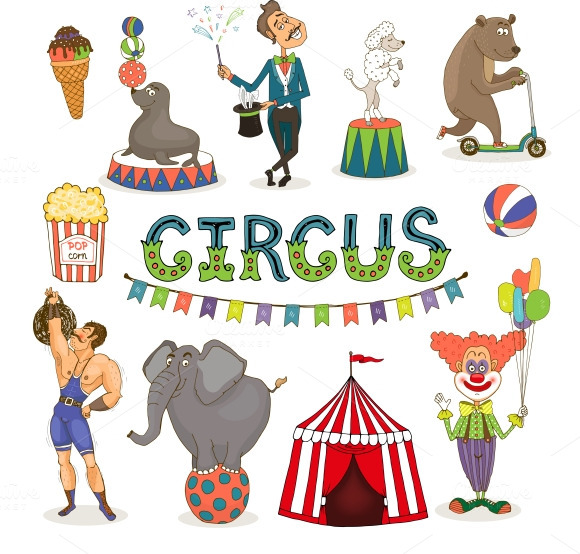 Circus Funfair And Fairground Icons