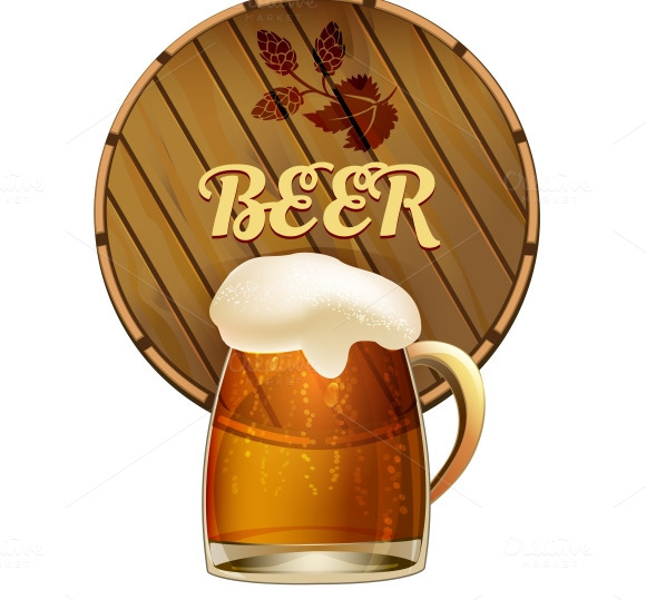 Mug Of Frothy Beer With A Barrel