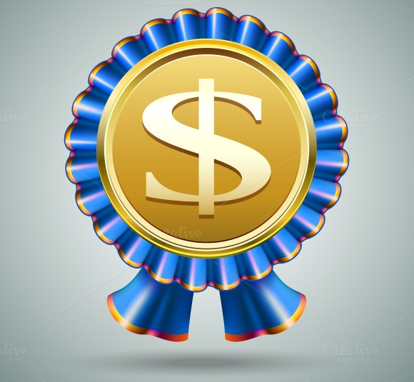 Dollar Sign In A Blue Ribbon Rosette