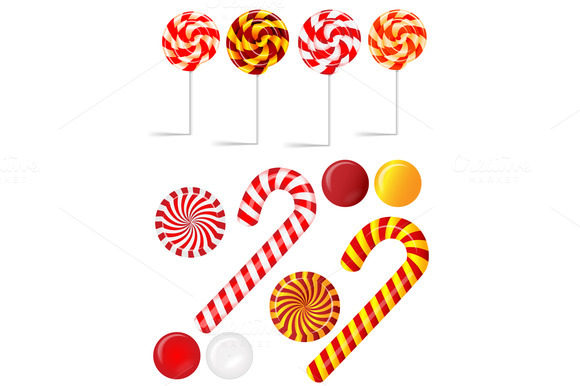 Set Different Red And White Candies