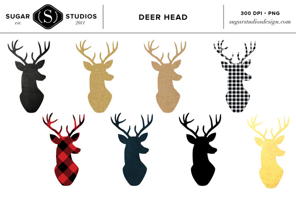 Deer Head Clipart Set