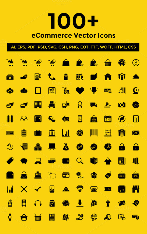 100 ECommerce Vector Icons Pack