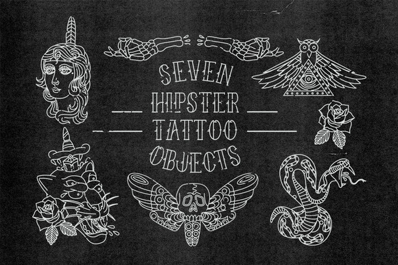 Vector Hipster Tattoos