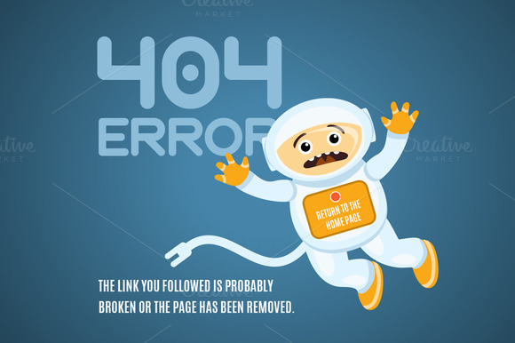 404 Error Page With Lost Astronaut