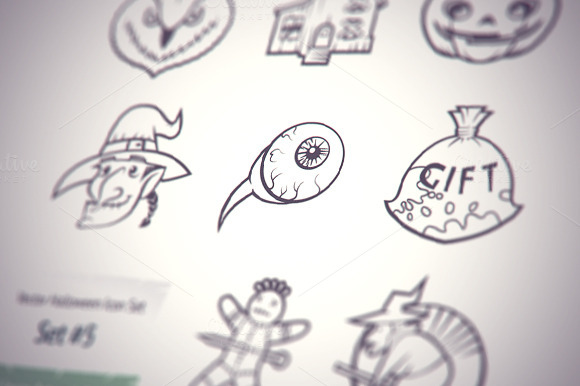 Halloween Sketch Icons Set