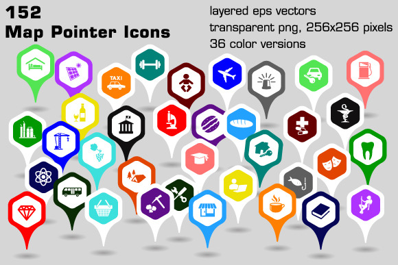 152 Map Pointer Icons Hexagonal