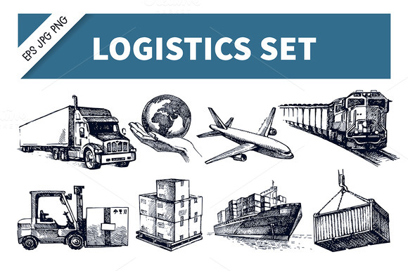 Hand Drawn Logistics Delivery Set