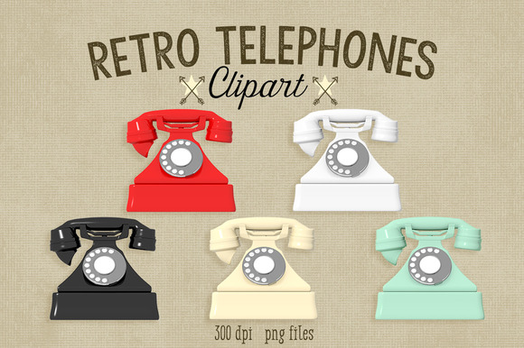 Retro Telephones Clipart