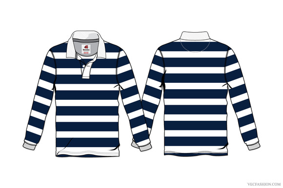 Men Rugby Shirt Vector Template