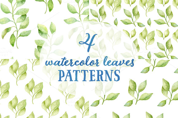 4 Watercolor Leaves Patterns