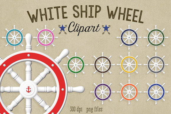 Nautical Clipart White Ship Wheel