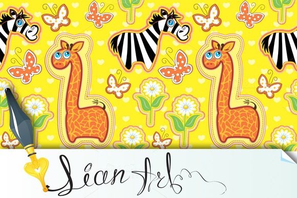 Seamless Pattern With Cartoon Animal