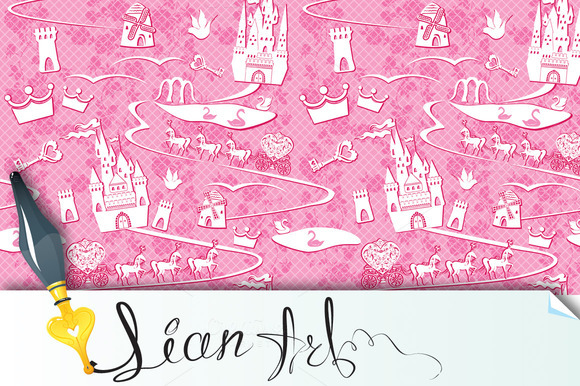 Seamless Pattern With Fairytale Land