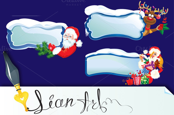 Set Of Horizontal Xmas Banners