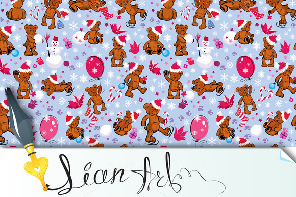 Seamless Pattern With Teddy Bear