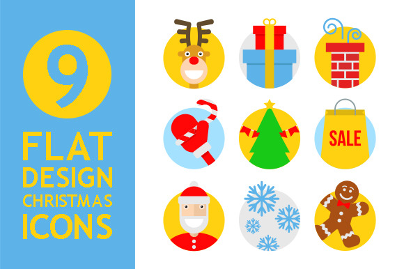 9 Flat Design Christmas Icons