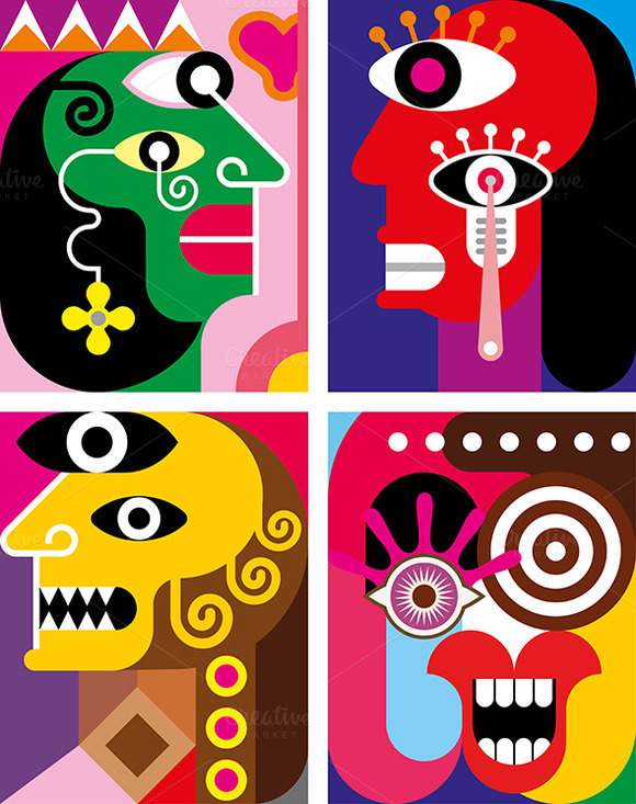 Four Faces Abstract Vector Illustr