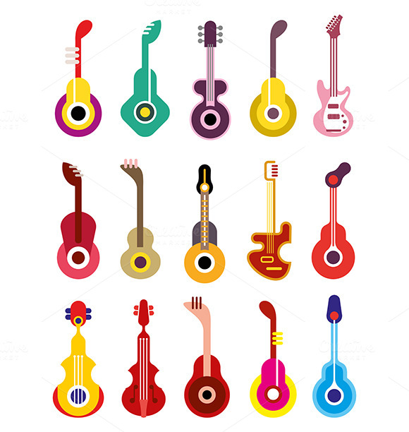 Guitar Vector Icon Set