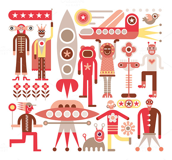 Humans And Aliens Vector Illustrat