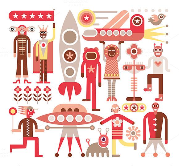 Humans And Aliens Vector Illustrat