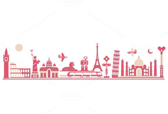World Landmarks Vector Illustratio