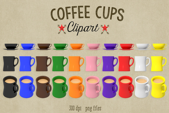 Coffee Clipart-Mugs Cup Saucers