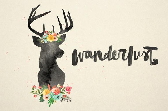 Watercolor Flowery Deer