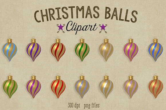 Christmas Clipart-Glass Ornaments
